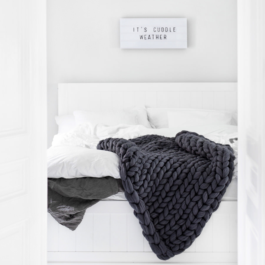 Graphite Merino Blanket by Ohhio