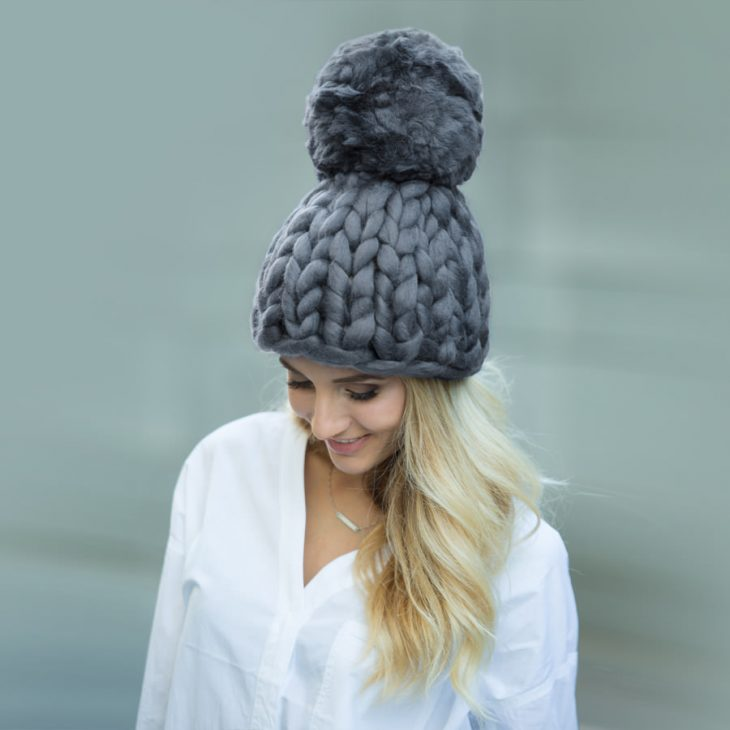 Gumdrop Pom Beanie in Graphite Color