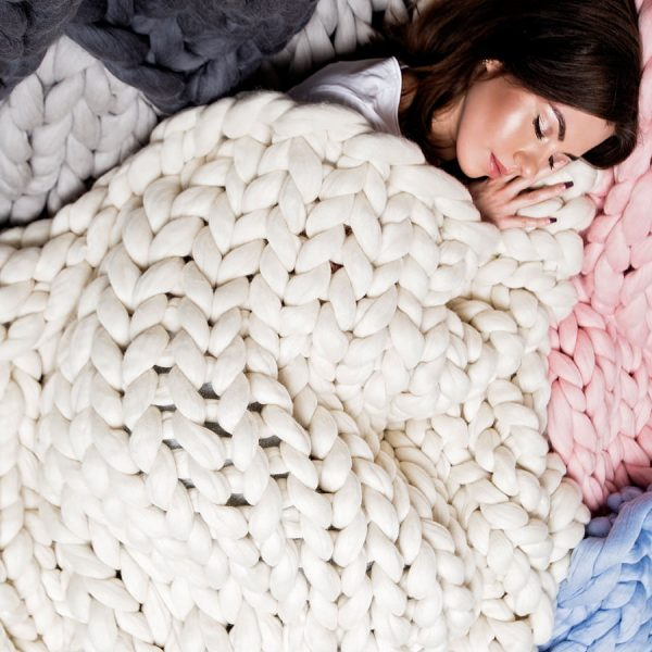 Blue, pink and whie chunky knitted merino blankets