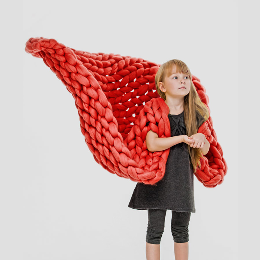 Merino Blanket in Fire Red Color