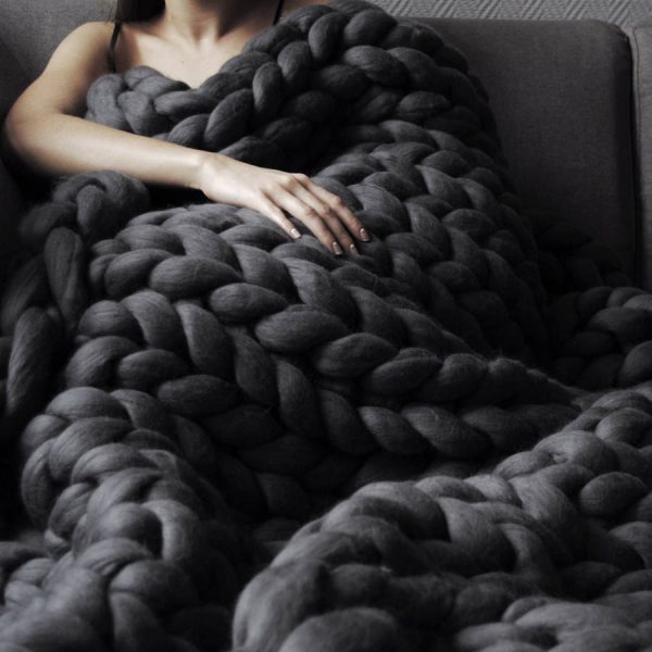 Merino Blanket in Graphite Color