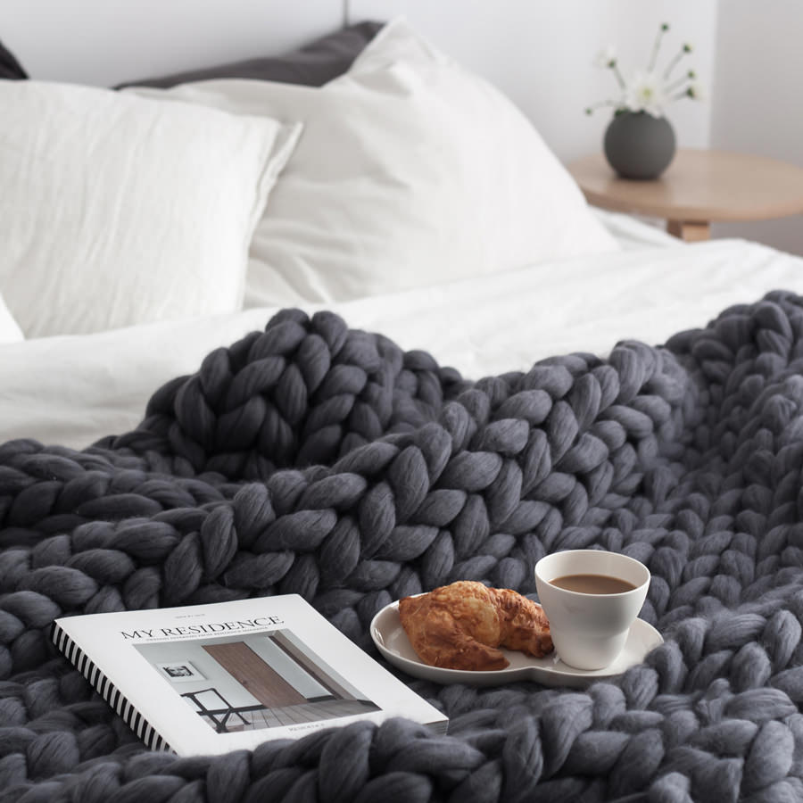 chunky knitted merino wool blanket by Ohhio (decordots)