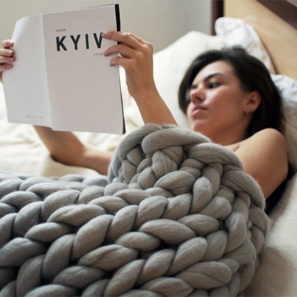 chunky knitted merino wool blanket by Ohhio