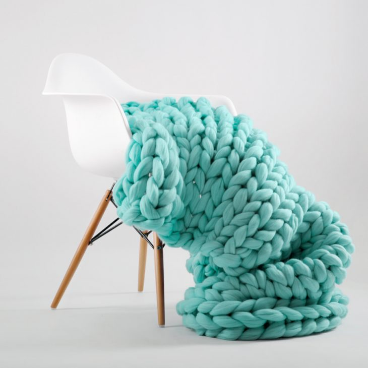 Patina color chunky knitted merino wool blanket by Ohhio