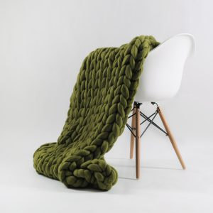 Umber green chunky knitted merino wool blanket by Ohhio