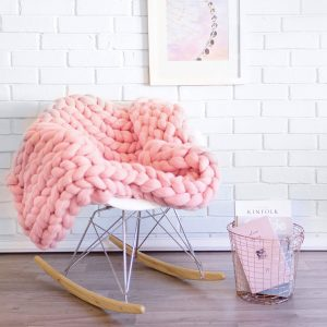Pink chunky knitted merino blanket