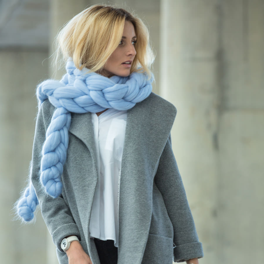 Taffy Chain Scarf in Powder Blue Color