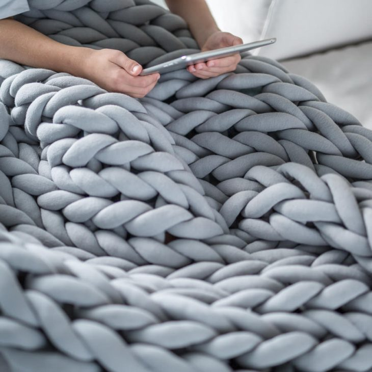 Ohhio braid blanket extra large gray