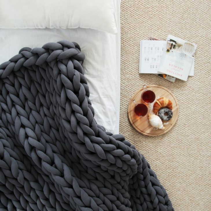 braid blanket large dark gray