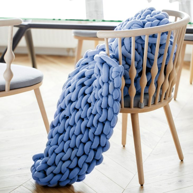braid blanket medium blue
