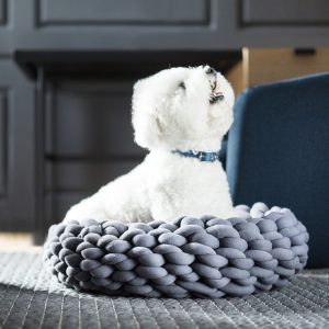 Ohhio braid dog bed dark gray