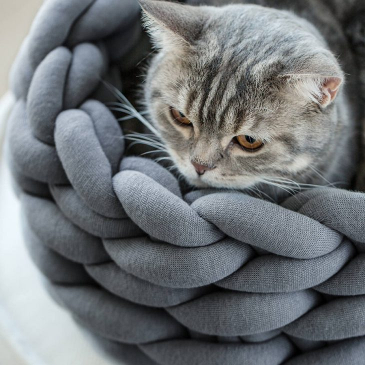 Ohhio Braid Cat Bed DIY Kit Dark Grey