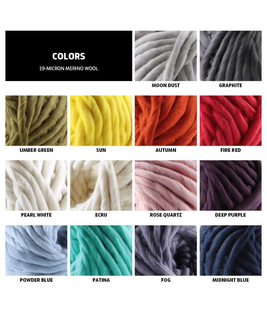 color chart of 19-micron merino wool