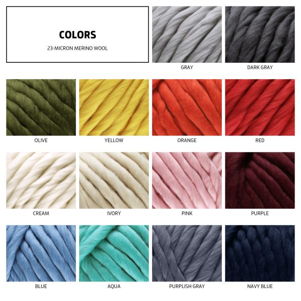 color chart of 23-micron merino wool