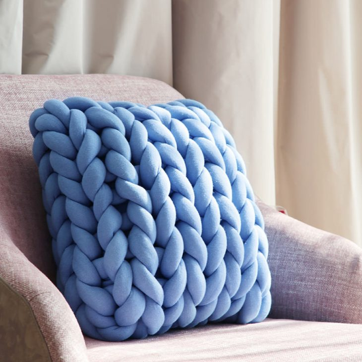 Square Ohhio Braid Cushion blue