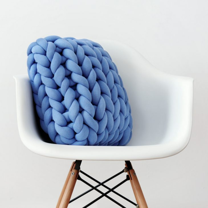Square Ohhio Braid Cushion blue front