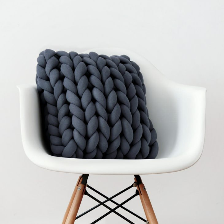 Square Ohhio Braid Cushion dark gray