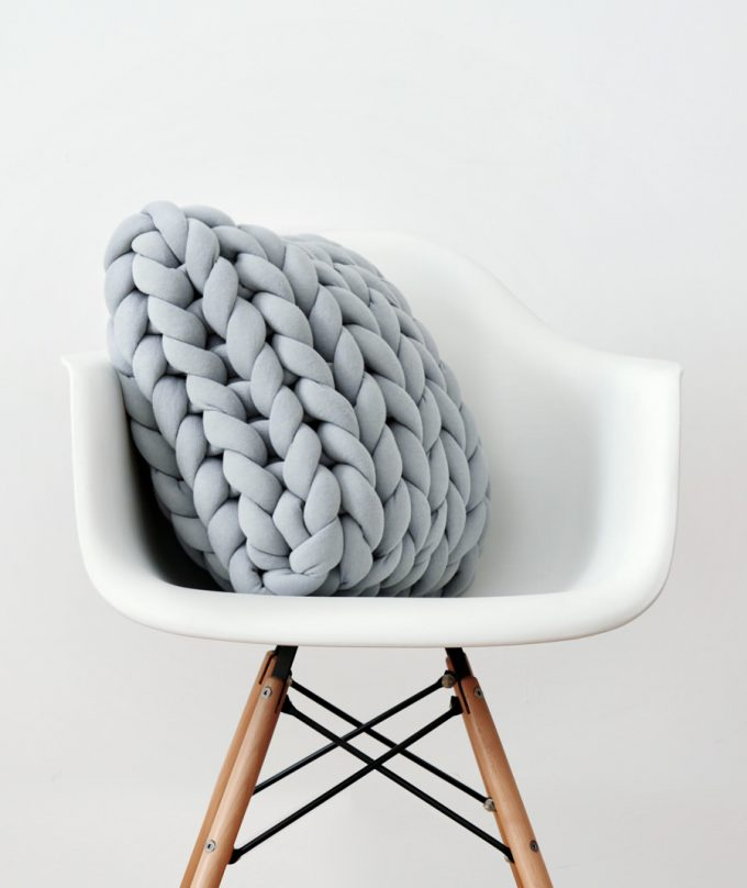 Square Ohhio Braid Cushion gray