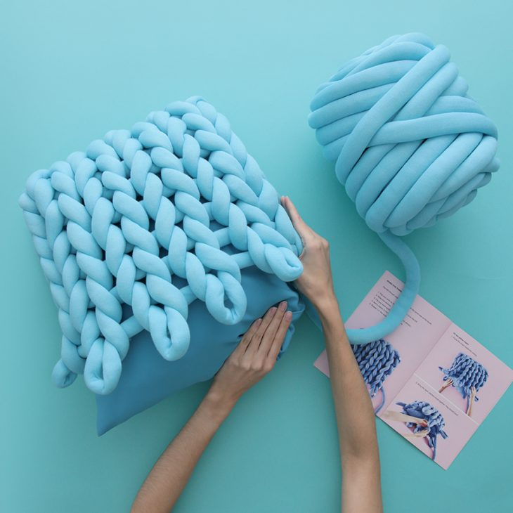 Square Ohhio Braid Cushion DIY Kit Turquoise
